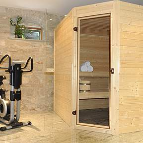 Sauna and trainer bike on ground floor